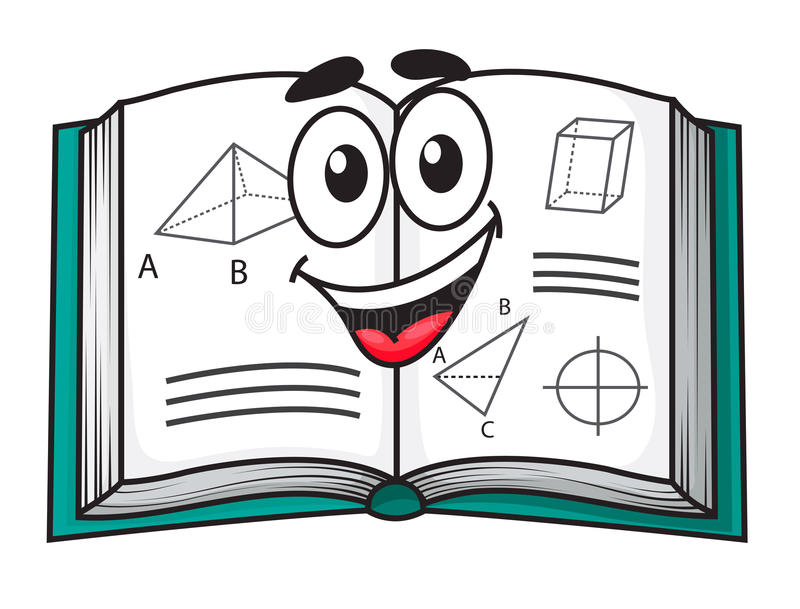 Happy smiling cartoon school textbook stock illustration