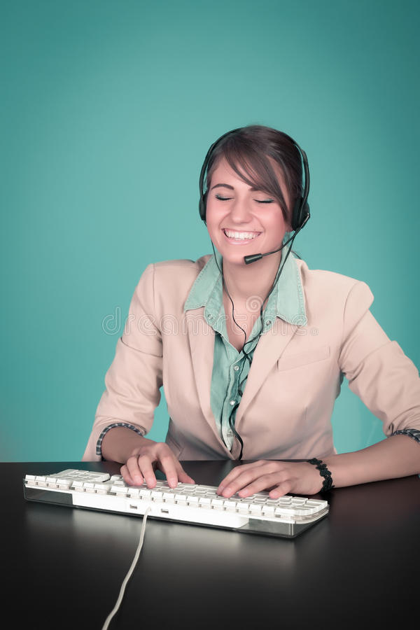 Happy smiling cheerful support phone operator royalty free stock images