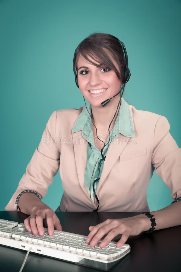 Happy smiling cheerful support phone operator royalty free stock photo