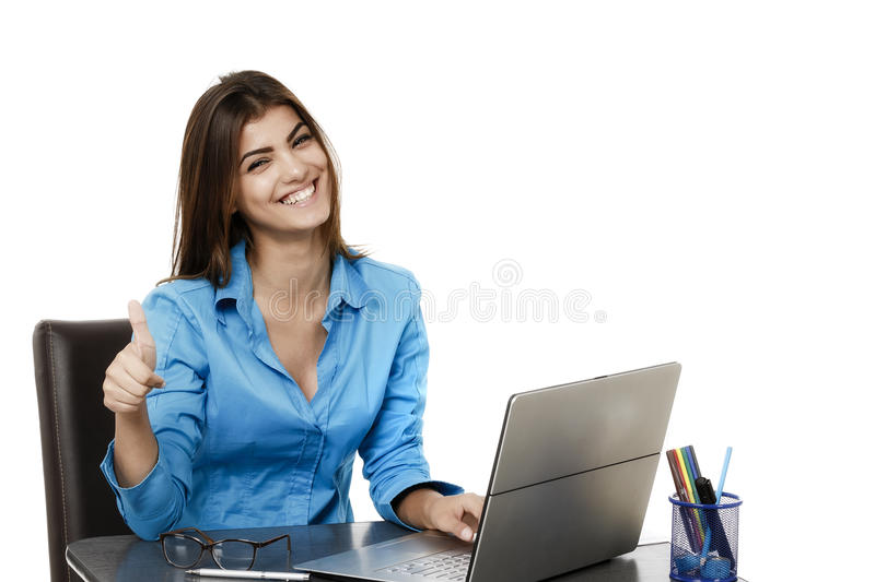 Happy smiling cheerful young business woman with okay gesture, i stock photo