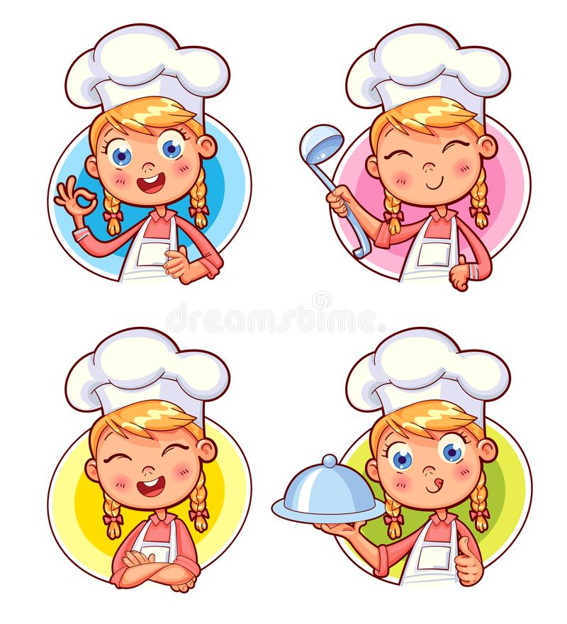 Collection of Cook Chef portraits in different situations. Happy smiling Chef Cook collection. Child in a cook`s cap and with a towel, holds a ladle. Kid makes royalty free illustration