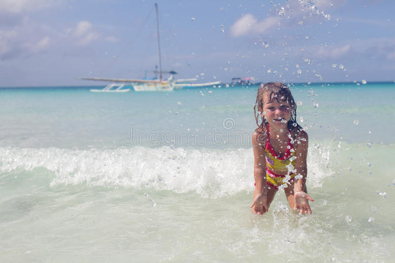 Download Happy Smiling Child Girl In Water Stock Image - Image: 28607111
