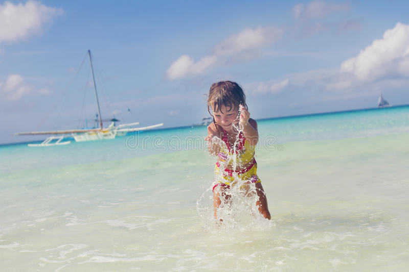 Download Happy Smiling Child Girl In Water Stock Image - Image: 28607143
