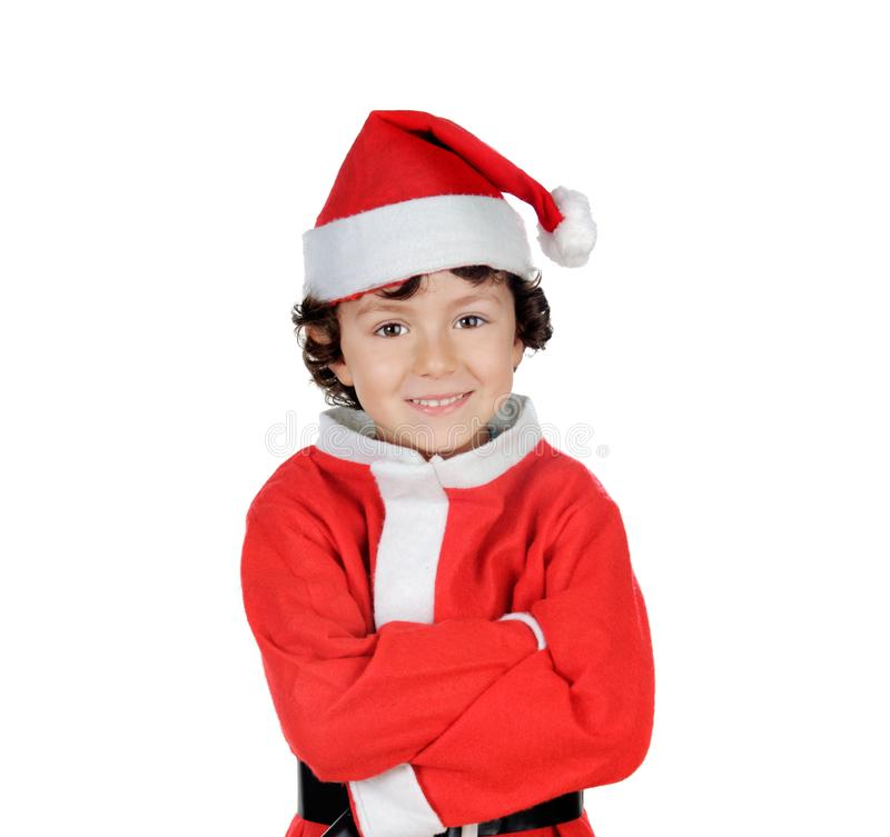 Happy smiling child wearing Christmas clothes stock photos