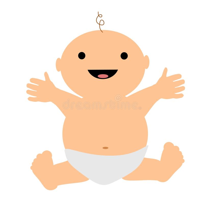 Happy Smiling Clip Art Baby. A simple illustration featuring a happy smiling baby royalty free illustration