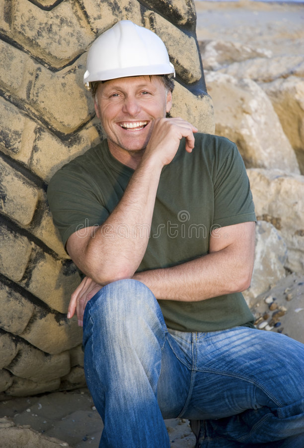 Happy smiling construction worker. royalty free stock photo