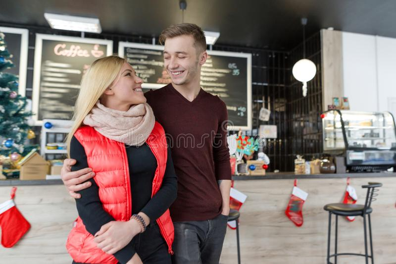 Happy smiling couple. Christmas holidays, love and relationships stock photo