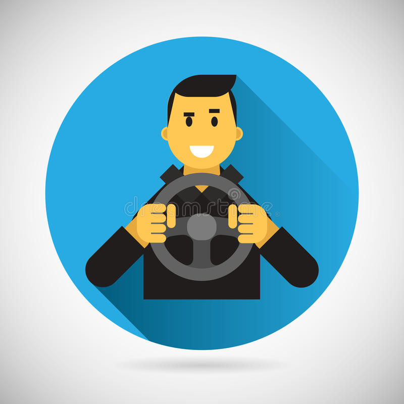 Happy Smiling Driver Character with Car Wheel Icon vector illustration