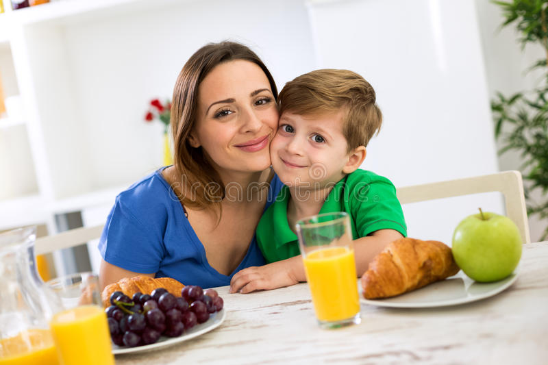 Happy smiling family in the morning royalty free stock photos