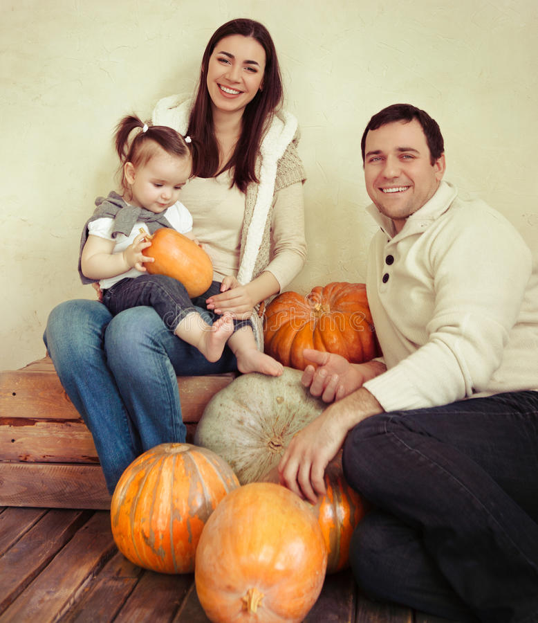 Download Happy Smiling Family With One Year Old Baby Girl Indoor Stock Photo - Image: 31907124