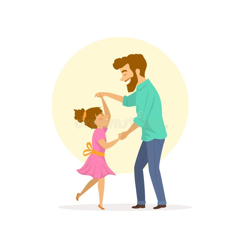 Happy smiling father and daughter dancing vector illustration
