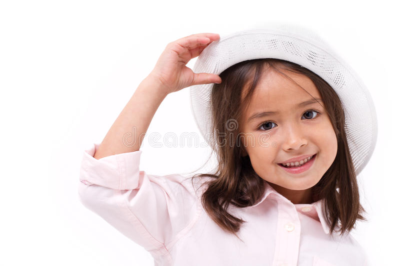 Happy, smiling female asian caucasian kid royalty free stock images