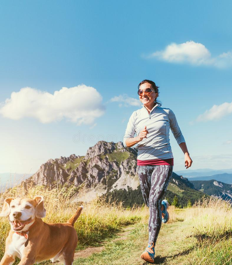 Happy smiling female jogging by the mounting range path with her beagle dog. Canicross running healthy lifestyle concept image stock photography