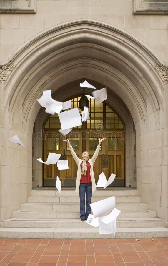 Happy, smiling, female woman college university student celebrating after finishing completing tests exams. Higher education, aspirations, achievement, success stock photos
