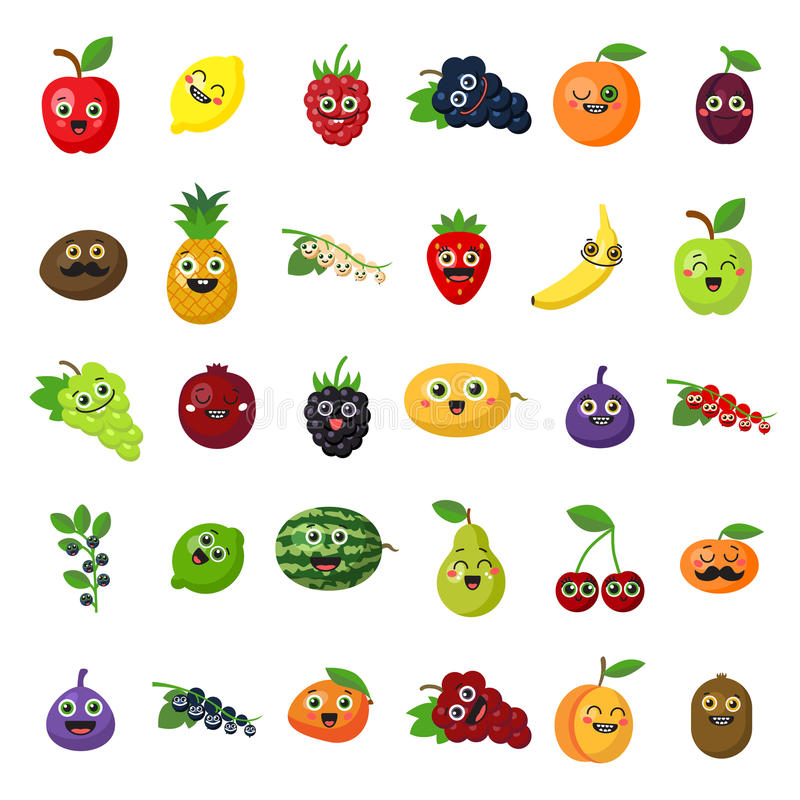 Happy smiling fruits. vector illustration
