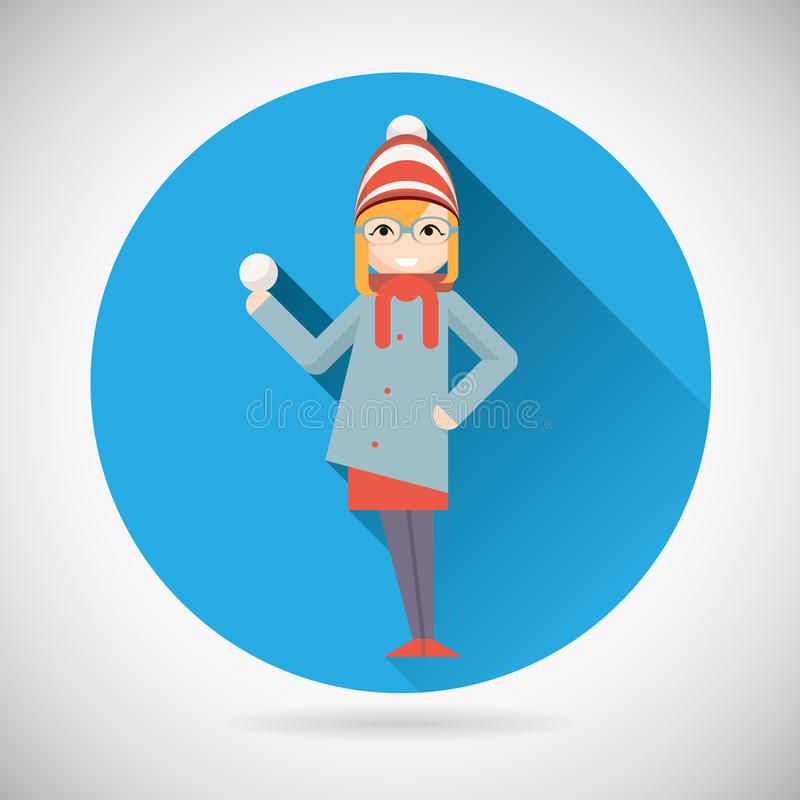 Happy Smiling Geek Hipster Girl Character with. Happy Smiling Geek Hipster Girl Character Snowball New Year Christmas symbol Icon Greeting Card flat vector stock illustration