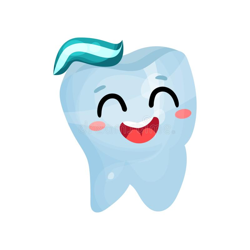 Happy smiling giant tooth character, dental care and health cartoon vector Illustration vector illustration