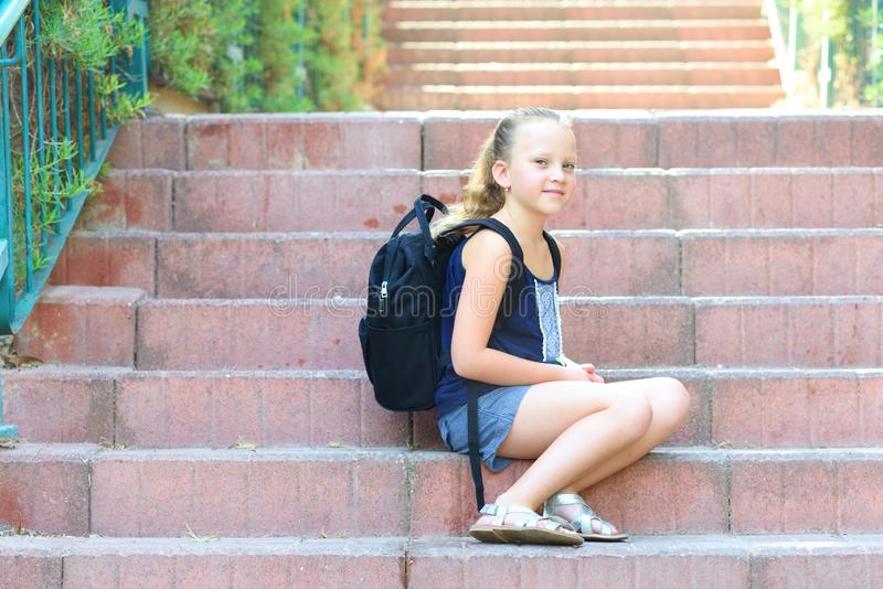 Happy smiling girl Back to school. stock photos