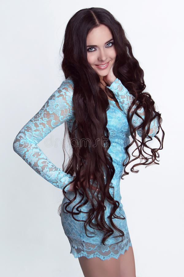 Download Happy Smiling Girl Model. Healthy Long Curly Hair Stock Photo - Image: 27997666