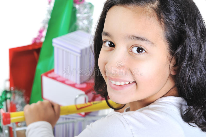 Download Happy Smiling Girl With Shopping Cart Stock Photos - Image: 23355873