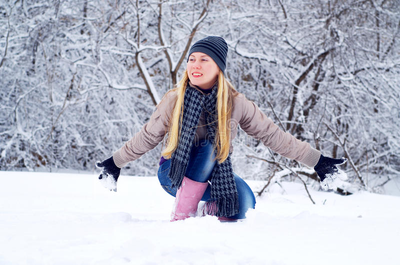 Download Happy Smiling Girl In Winter Stock Image - Image: 13146779
