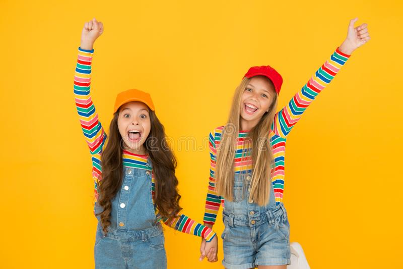 Happy smiling girls sisters best friends. True friendship. Carefree and happy childhood. Happy childrens day. Family stock images