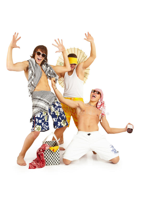 Happy smiling group in beach clothes. royalty free stock photo