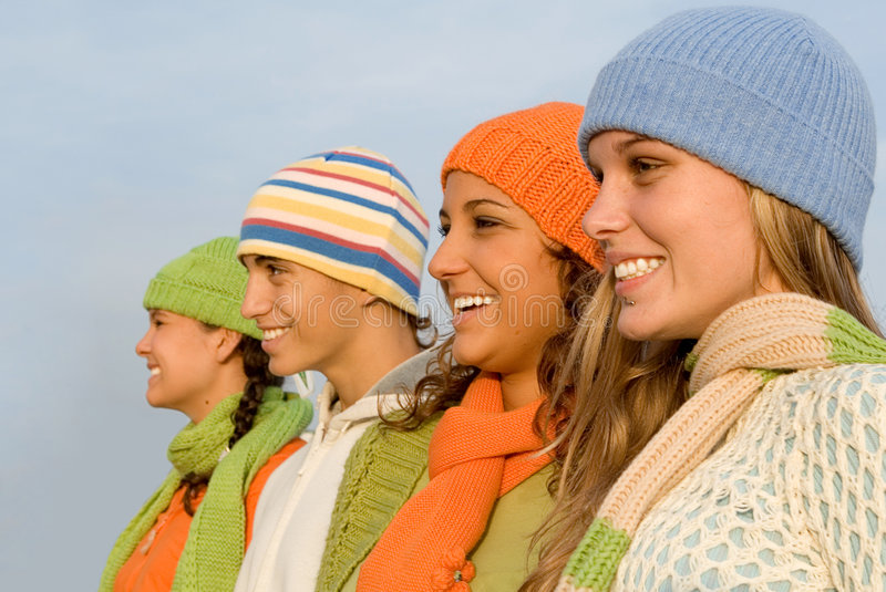 Happy smiling group teens stock photo