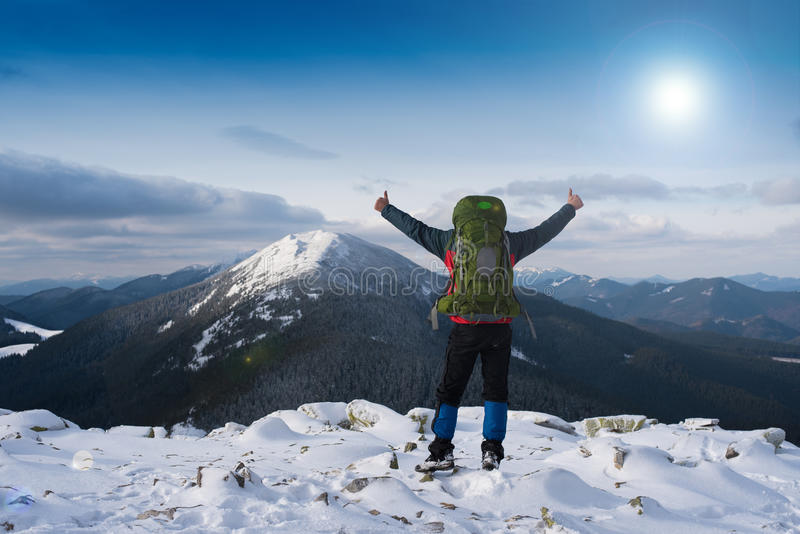 Happy smiling hiker royalty free stock photo