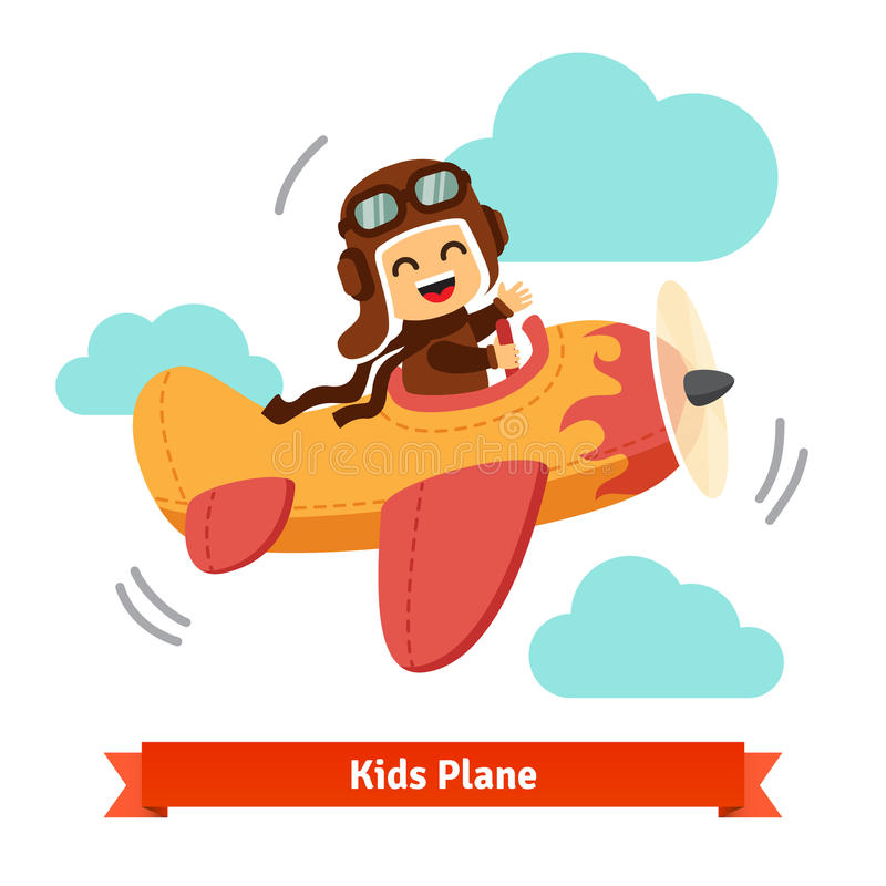 Happy smiling kid flying plane like a real pilot royalty free stock photo
