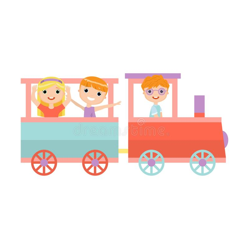 Happy smiling kids ride in amusement park colorful train. With wagon. Flat style. Vector illustration on white background royalty free illustration