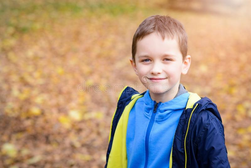 Happy smiling little boy in blue jacket in park royalty free stock photo