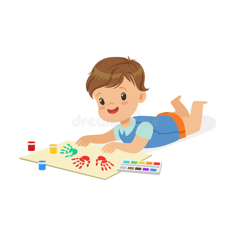 Happy smiling little boy lying on his stomach and painting with colorful handprints, a small artist, education and child vector illustration