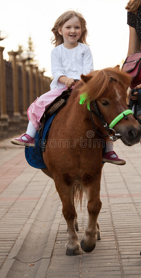 Happy smiling little girl on a pony stock images
