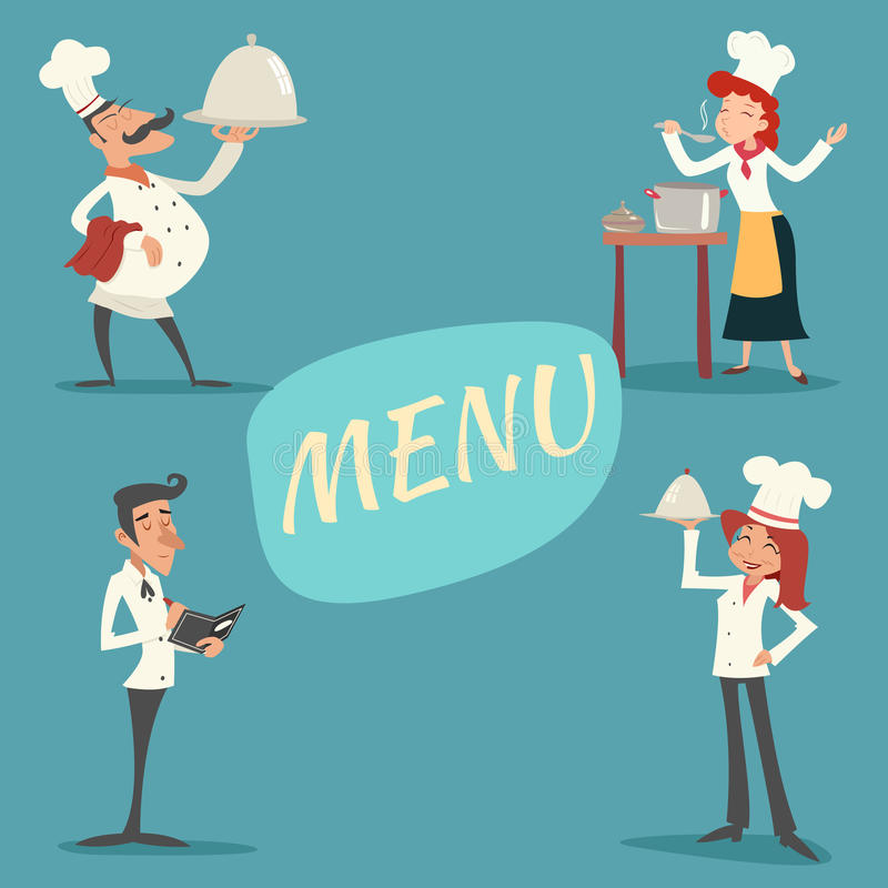 Happy Smiling Male and Female Chief Cook Waiter vector illustration
