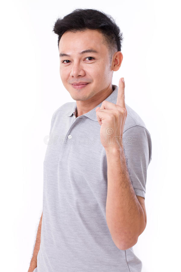 Free Happy, Smiling Man Giving No.1 Hand Gesture Stock Photo - 64606460