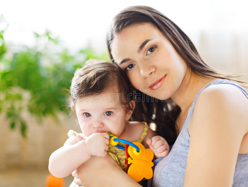 Download Mother With Eight Month Old Baby Girl Stock Image - Image of home, carefree: 29730501