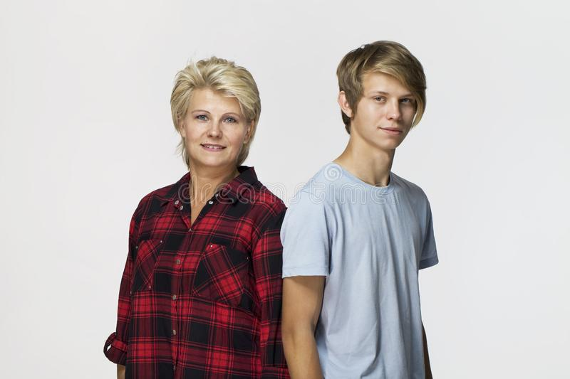 Happy and smiling mother and son. Loving family portrait stock photos