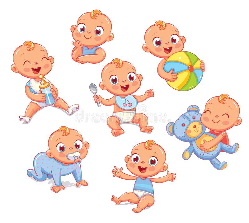 Happy smiling newborn boy in different situations. Set with cute little baby in diaper. Funny cartoon character. Vector illustration. on white background vector illustration