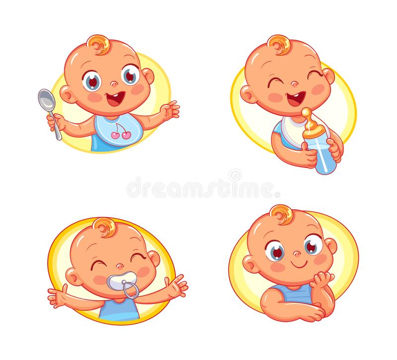 Design template for baby food and kids hygiene products and children`s store. Happy smiling newborn boy or girl. Collection of toddler portraits in different royalty free illustration