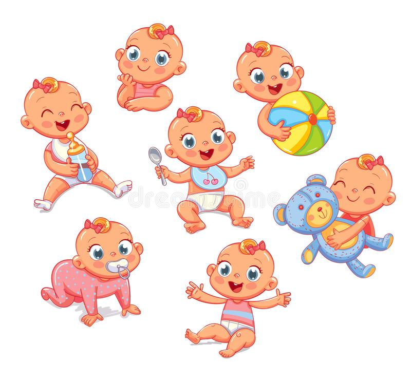 Happy smiling newborn girl in different situations. Set. With cute little baby in diaper. Funny cartoon character. Vector illustration. Isolated on white vector illustration