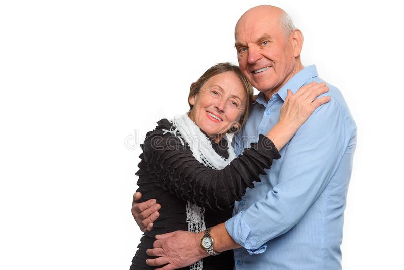 Happy and smiling old couple royalty free stock photography