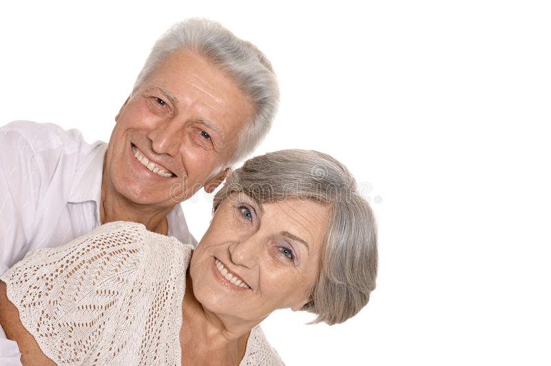 Happy smiling old couple stock photography
