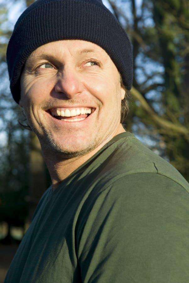 Happy smiling outdoor man stock photos