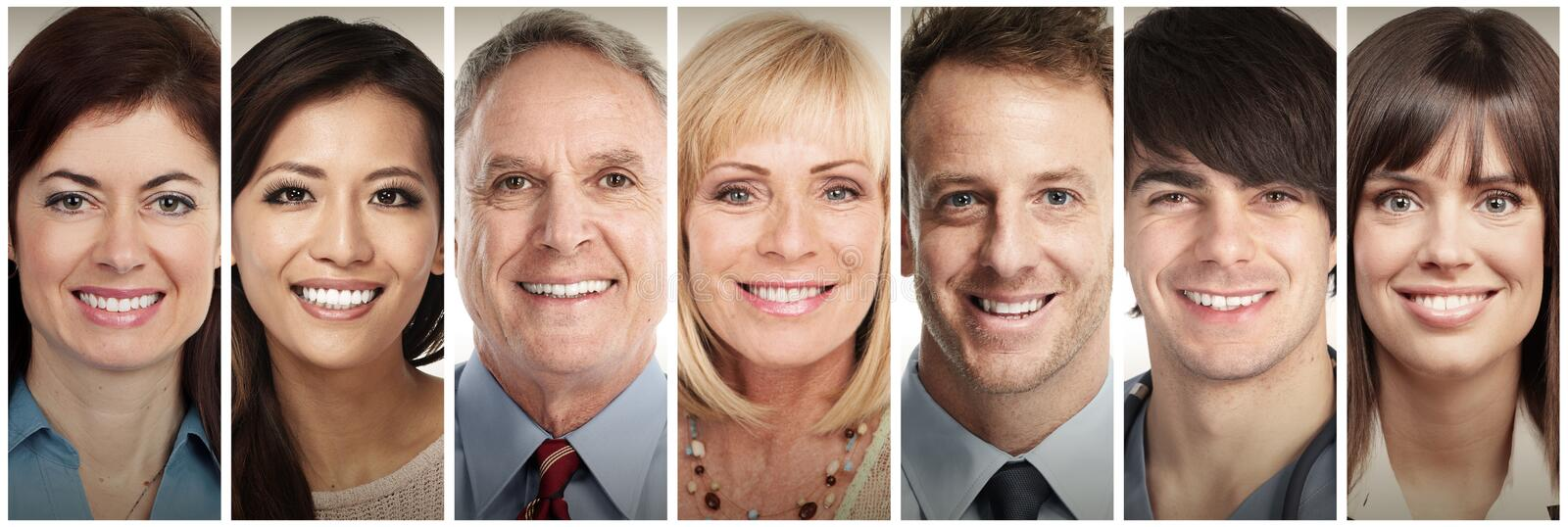 Happy smiling people faces stock photo