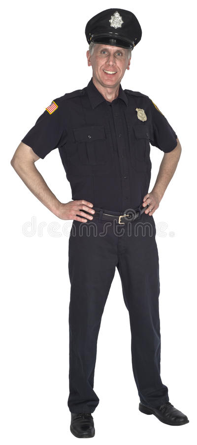 Happy Smiling Police Officer Cop or Policeman Isolated. A police officer cop or policeman is standing with a nice, friendly smile on his face. He is wearing a royalty free stock photos
