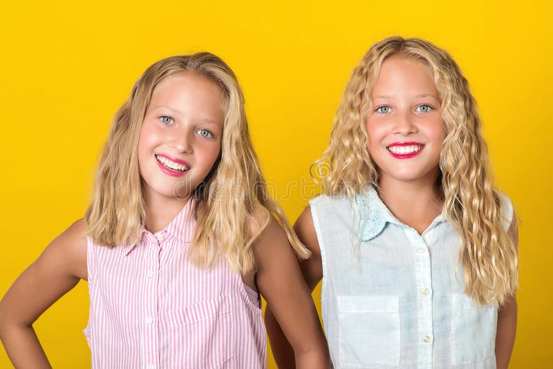Happy smiling pretty teenage twins girls laughing with a perfect smile. People, emotions, teens and friendship concept. Cute stock image