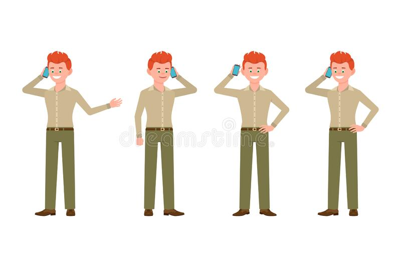Happy, smiling, red hair man in green pants vector illustration. Calling, talking on phone, standing boy cartoon character set vector illustration