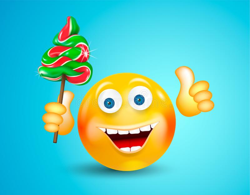 Happy smiling round face holding christmas candies fir-tree and showing thumb up on bright blue background. Cartoon character. Ico vector illustration