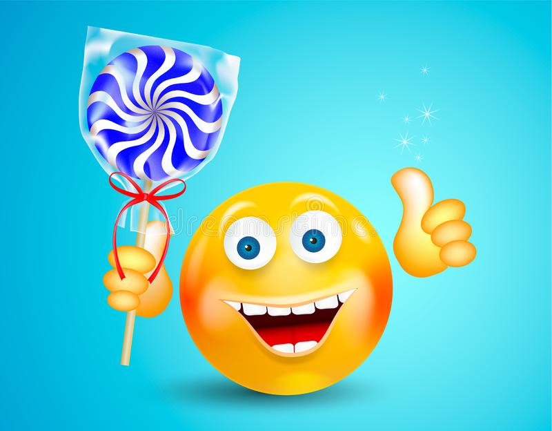 Happy smiling round face holding sweet candy lollipop and showing thumb up on bright blue background. Cartoon character. Icon royalty free illustration